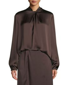 Knotted High-Neck Log-Sleeve Silk Blouse at Bergdorf Goodman