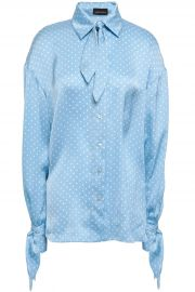 Knotted polka-dot silk-satin shirt at The Outnet