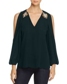 Kobi Halperin Embellished Cold Shoulder Silk Blouse in Green at Bloomingdales