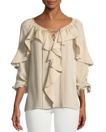 Kobi Halperin Sevan Ruffled Silk Blouse at Neiman Marcus