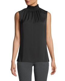 Kobi Halperin Velma Sleeveless Smock-Neck Silk Blouse at Neiman Marcus