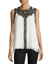 Kobi Halperin Abagail Sleeveless Lace-Trim Silk Blouse at Neiman Marcus