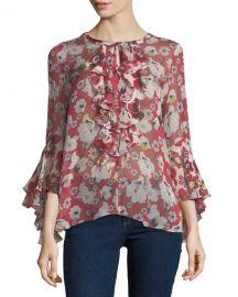 Kobi Halperin Agatha Bell-Sleeve Floral-Print Silk Blouse at Neiman Marcus