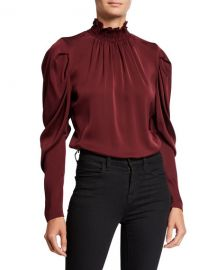 Kobi Halperin Anderson Long-Sleeve Stretch Silk Turtleneck Blouse at Neiman Marcus