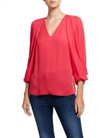 Kobi Halperin Camryn V-Neck Draped Sleeve Silk Blouse at Neiman Marcus
