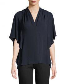 Kobi Halperin Carin Ruffled-Sleeve Silk Blouse at Neiman Marcus