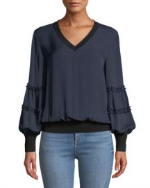 Kobi Halperin Carlena Silk Blouse w  Merino Wool at Neiman Marcus
