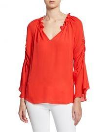 Kobi Halperin Carolina V-Neck Shirred Sleeve Silk Blouse at Neiman Marcus