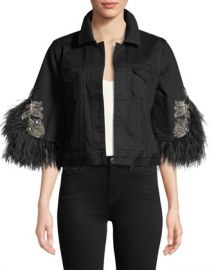 Kobi Halperin Chandra Denim Jacket with Feather Trim at Neiman Marcus