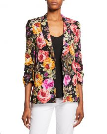 Kobi Halperin Dana Floral One-Button 3 4-Sleeve Silk Jacket at Neiman Marcus