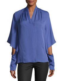 Kobi Halperin Edyn Cascading Long-Sleeve Silk Blouse   Neiman at Neiman Marcus