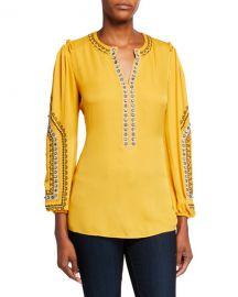 Kobi Halperin Eliza V-Neck Long-Sleeve Embellished Silk Blouse at Neiman Marcus