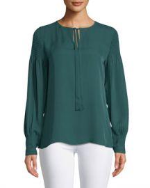 Kobi Halperin Julee Tie-Neck Long-Sleeve Silk Blouse w  Smocking Details at Neiman Marcus