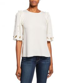 Kobi Halperin Krissy Embellished Elbow-Sleeve Silk Blouse at Neiman Marcus