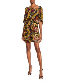 Kobi Halperin Leandra Floral High-Neck Shirred Silk Dress at Neiman Marcus