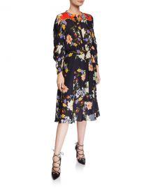 Kobi Halperin Leila Floral Button-Front Long-Sleeve Dress at Neiman Marcus