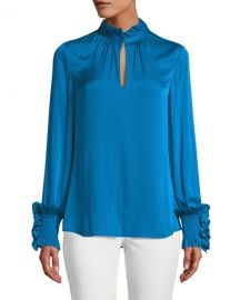 Kobi Halperin Lexi Stretch-Silk Blouse with Smocked Detail at Neiman Marcus