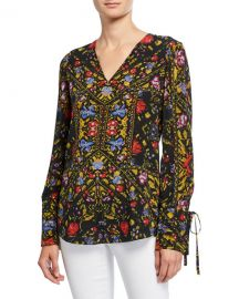 Kobi Halperin Liana Printed V-Neck Long-Sleeve Blouse at Neiman Marcus