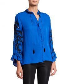 Kobi Halperin Margo Embellished Tie-Neck Long-Sleeve Silk Blouse at Neiman Marcus