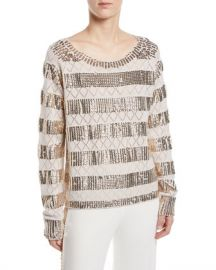 Kobi Halperin Melita Sequin-Stripe Sweater at Neiman Marcus