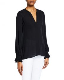Kobi Halperin Miley V-Neck Long-Sleeve Blouse at Neiman Marcus