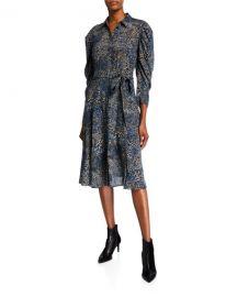 Kobi Halperin Morgan Animal-Print Silk Shirtdress at Neiman Marcus