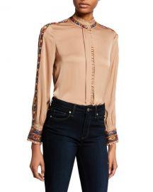 Kobi Halperin Owen Mock-Neck Long-Sleeve Silk Blouse at Neiman Marcus