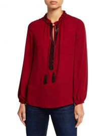 Kobi Halperin Paula Long-Sleeve Beaded Tassel-Tie Silk Blouse at Neiman Marcus
