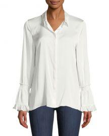 Kobi Halperin Plus Size Hana Silk Blouse w  Bell Sleeves at Neiman Marcus