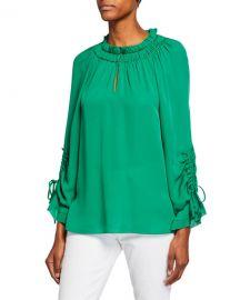 Kobi Halperin Ramone Long-Sleeve Silk Blouse at Neiman Marcus