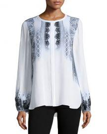 Kobi Halperin Sheri Long-Sleeve Lace-Print Silk Blouse  Multi at Neiman Marcus