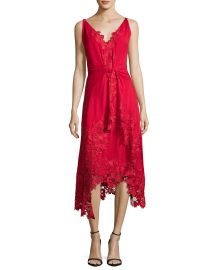 Kobi Halperin Sleeveless Silk Lace-Trim Midi Dress  Crimson at Neiman Marcus