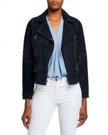 Kobi Halperin Veronia Embellished Suede Moto Jacket at Neiman Marcus