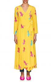 Koi-Print Silk Maxi Wrap Dress by We Are Leone at Barneys