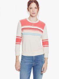 Koozie Half-Stripe Cotton Sweatshirt by Mother at Mother