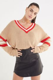 Kristen V-Neck Varsity Sweater by Urban Outfitters at Urban Outfitters