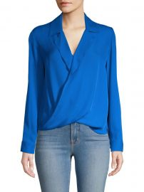L  039 Agence - Rita Drape-Front Silk Blouse at Saks Fifth Avenue