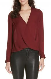 L  x27 AGENCE Kyla Draped Silk Surplice Blouse   Nordstrom at Nordstrom