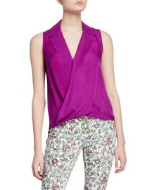 L  x27 Agence Freja Wrap-Front Sleeveless Silk Blouse at Neiman Marcus