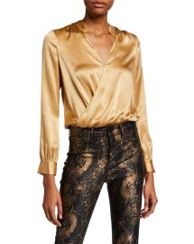 L  x27 Agence Marcella Surplice Long-Sleeve Silk Charmeuse Bodysuit at Neiman Marcus