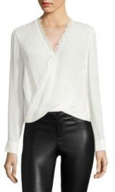 L AGENCE - Rosario Lace Trimmed Silk Top white at Saks Fifth Avenue