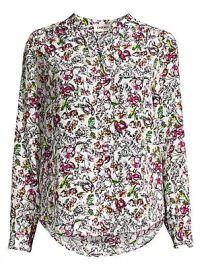 L  039 Agence - Bardot Floral Silk Blouse at Saks Fifth Avenue