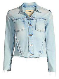 L  039 Agence - Janelle Slim Fit Raw Hem Denim Jacket at Saks Fifth Avenue