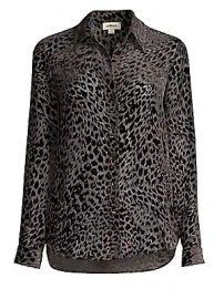 L  039 Agence - Nina Leopard Velvet Burnout Blouse at Saks Fifth Avenue