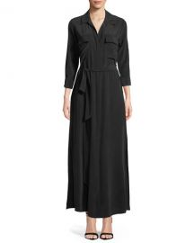 L  39 Agence Cameron Long-Sleeve Belted Silk Shirtdress   Neiman Marcus at Neiman Marcus