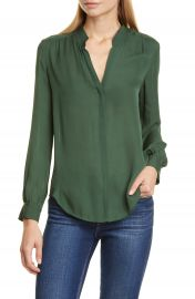L  x27 AGENCE   x27 Bianca  x27  Band Collar Silk Blouse   Nordstrom at Nordstrom