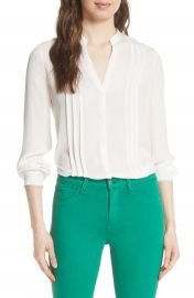 L  x27 AGENCE Amalea Pintuck Silk Blouse at Nordstrom