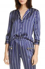 L  x27 AGENCE Aoki Stripe Silk Shirt   Nordstrom at Nordstrom