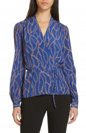 L  x27 AGENCE Cara Chain Print Silk Wrap Blouse   Nordstrom at Nordstrom