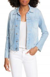 L  x27 AGENCE Janelle Raw Cut Slim Denim Jacket   Nordstrom at Nordstrom